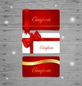 Holiday Gift Coupons with gift bows and ribbons. Vector illustra — Stock Vector
