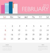 2015 calendar, monthly calendar template for February. Vector il — Stock Vector