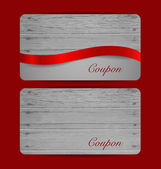Holiday Gift Coupons with red ribbons. Vector illustration. — Stockvektor