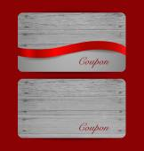 Holiday Gift Coupons with red ribbons. Vector illustration. — Stock Vector