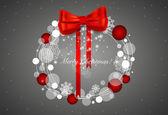 Abstract Christmas background with Christmas wreath, vector illu — Stock Vector
