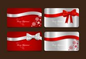 Holiday Gift Coupons with gift bows and ribbons. Vector illustra — Vector de stock