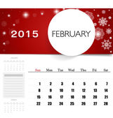 2015 calendar, monthly calendar template for February. Vector il — Vector de stock