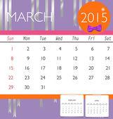 2015 calendar, monthly calendar template for March. Vector illus — Stock Vector