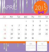 2015 calendar, monthly calendar template for April. Vector illus — Stock Vector