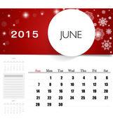 2015 calendar, monthly calendar template for June. Vector illust — Stock Vector