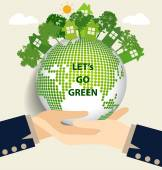 Hand holding Green Eco Earth. Vector Illustration. — Stock Vector