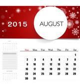 2015 calendar, monthly calendar template for August. Vector illu — Stock Vector