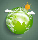 Green Eco Earth. Vector Illustration. — Vettoriale Stock