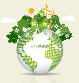 Green Eco Earth. Vector Illustration. — Stock Vector