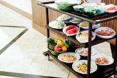 Breakfast preparation on table — Stock Photo