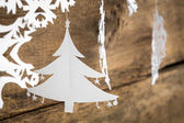 Christmas decorations snowflake ,christmas tree paper hanging ov — Stock Photo