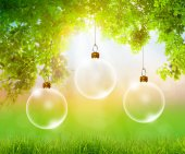 Transparent Christmas ball over green forest — Stock Photo
