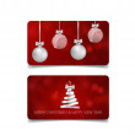 Holiday gift coupons with christmas tree and christmas ball, vec — Stock Vector #60617961