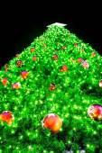 Christmas tree on black background — Zdjęcie stockowe