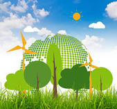 Fresh spring green grass with eco friendly earth over blue sky — Stock Photo