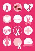 Design de cartões de conscientização do câncer de mama. Ilustração vetorial. — Vetor de Stock