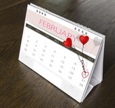 February valentine Calendar on wood table  Year 2015 — Stock Photo