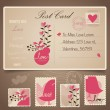Vintage postcard background and Postage Stamps - for wedding car — Stock Vector #64808997