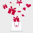 Happy valentines day. Valentines day gift bag with gift box. Vec — Vector de stock  #64809309