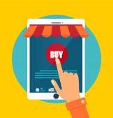 Business concept. Online shopping. Infographics background E-com — Stock Vector