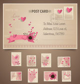 Vintage postcard background and Postage Stamps - for wedding car — Stock Vector