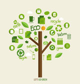 Vector ecology concept, Tree with icons. Vector Illustration. — Stock Vector