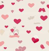 Seamless retro pattern of Valentine's hearts. Valentines day bac — Stock Vector