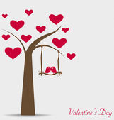 Valentine background with tree and bird. Vector Illustration. — Stock Vector