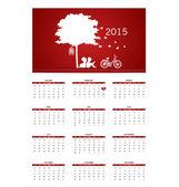 Valentines day. 2015 Calendar. Vector illustration. — Stock Vector