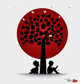 Valentine background with children read a book under tree. Vecto — Stock Vector