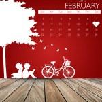 Valentines day. 2015 Calendar February. Vector illustration. — Stock Vector #64810343
