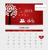 Valentines day. 2015 Calendar February. Vector illustration. — Stock Vector