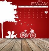 Valentines day. 2015 Calendar February. Vector illustration. — Stock Vector