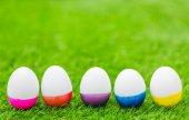 Paskalya yumurta taze yeşil çimenlerin üzerinde — Stok fotoğraf