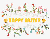 Happy easter cards with Floral bouquets. Vector illustration. — Stock Vector