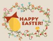 Happy easter cards with easter egg. Vector illustration. — Stock Vector