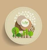 Nature banner, Eco organic labels and cards with Abstract trees. — Stock Vector