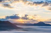 Fog and cloud mountain landscape ( HDR processing effect ) — Stock Photo