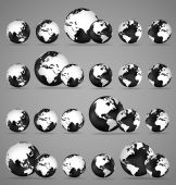 Modern globes and world map, vector illustration. — Stock Vector