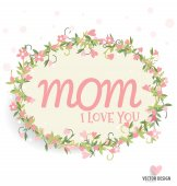 Happy Mother's Day with Floral bouquets background, vector illus — Stock Vector