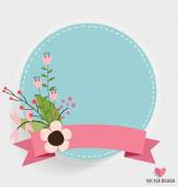 Floral bouquets with ribbon and heart, vector illustration. — Stock Vector