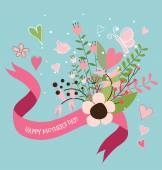 Happy Mother's Day, Floral bouquets with ribbon and heart, vecto — Stock Vector