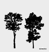 Set of tree silhouettes. Vector illustration. — Stock Vector
