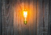 Glowing bulb on the wood background — Stock Photo