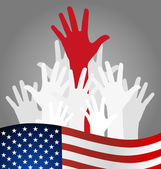Hands and american flag, vector illustration. — Stock Vector