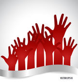 Raised hands. Vector illustration. — Stock Vector