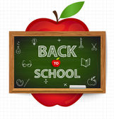 Welcome back to school with blackboard and apple, vector illustr — Stock Vector
