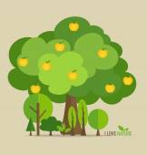 Abstract tree with apples. Vector illustration. — Stock Vector