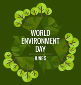World environment day concept with tree background. Vector illus — Stock Vector